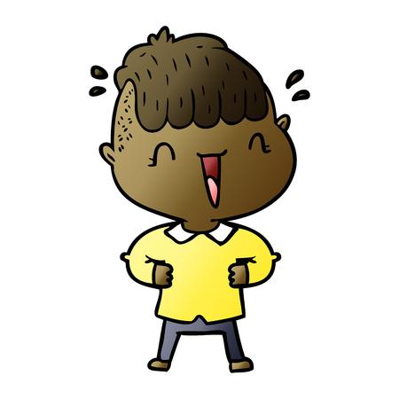 漫画の幸せな少年はベクトルのイラストを驚かせました。  イラスト・ベクター素材