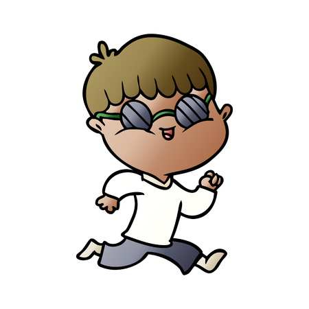 cartoon boy wearing sunglasses and running