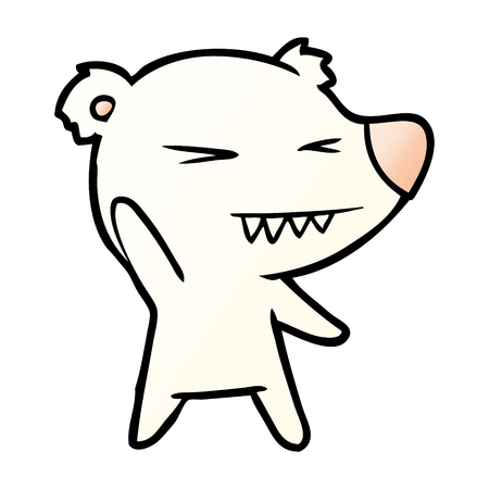 Angry polar bear cartoon illustration on white background. Illustration