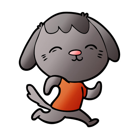 Happy cartoon dog running illustration on white background.