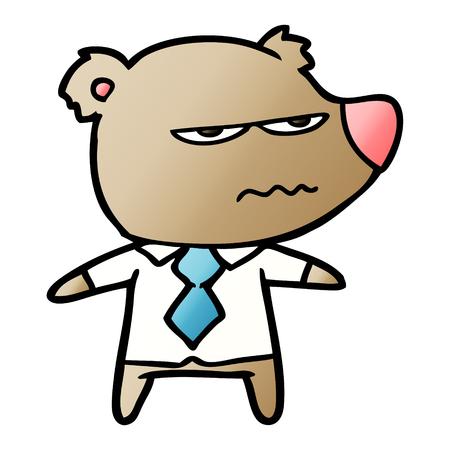 Cartoon angry boss bear illustration on white background. Foto de archivo - 95578748