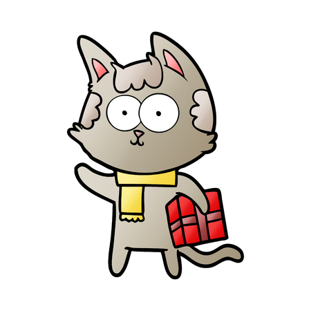 Happy cartoon cat with Christmas present illustration on white background. Banque d'images - 95578774