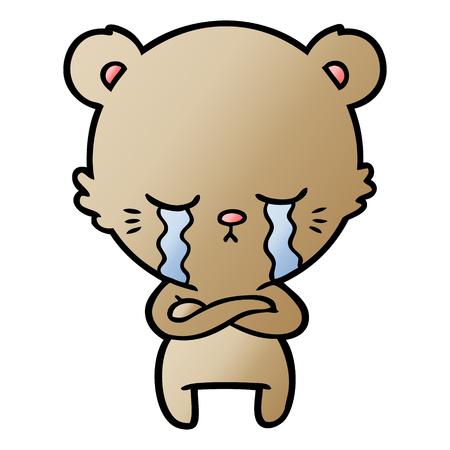 Crying cartoon bear with folded arms illustration on white background. Illustration