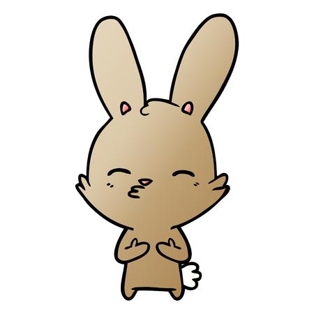 Curious bunny cartoon illustration on white background. Ilustrace