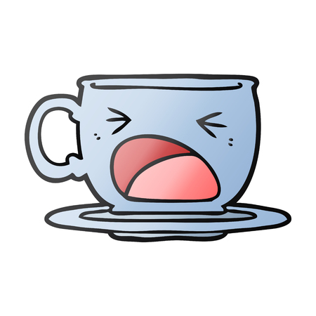 Cartoon shouting tea cup illustration on white background.