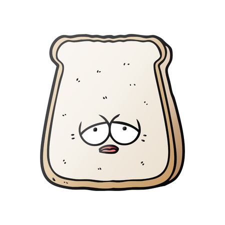 cartoon tired old slice of bread Vector illustration.