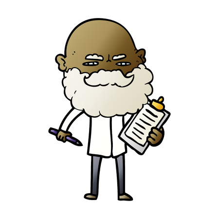 Cartoon man with beard frowning illustration on white background.