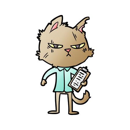 クリップボード付きタフな漫画の猫