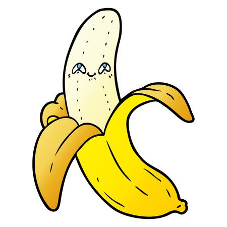 Cartoon crazy happy banana illustration on white background.