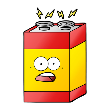 cartoon shocked battery Vector illustration.