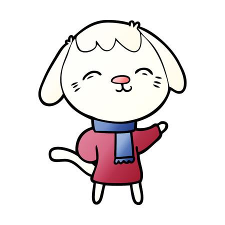 happy cartoon dog in winter clothes Vector illustration.