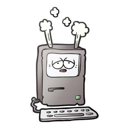 cartoon tired computer overheating Vector illustration. Illustration