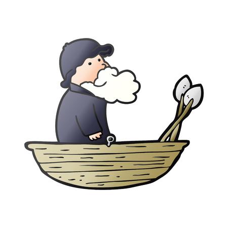 漫画漁師ベクターイラスト。  イラスト・ベクター素材