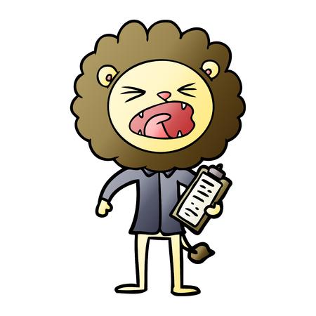 cartoon lion salesman 일러스트