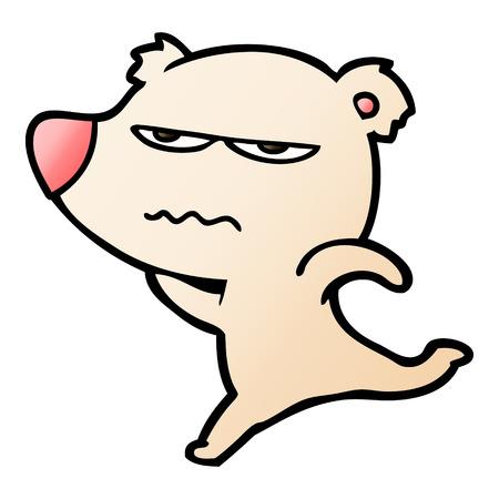 annoyed bear cartoon running Illustration