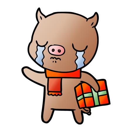 cartoon pig crying over christmas present