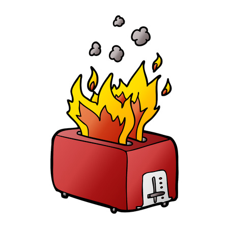 cartoon burning toaster Vectores