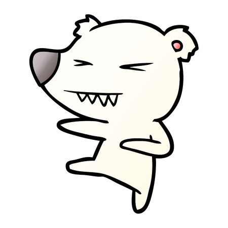 kicking polar bear cartoon Stock Vector - 95582581