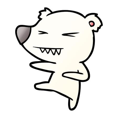 kicking polar bear cartoon Illustration