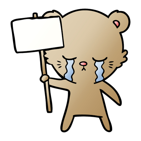 crying cartoon bear with sign post Stock Vector - 95578810