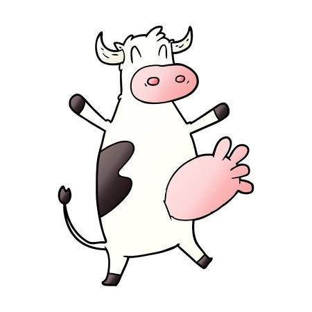 cartoon koe slingerende uier Vector illustratie.