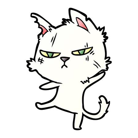 タフな漫画猫ベクトルイラスト。