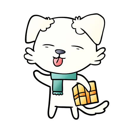 cartoon dog with xmas gift