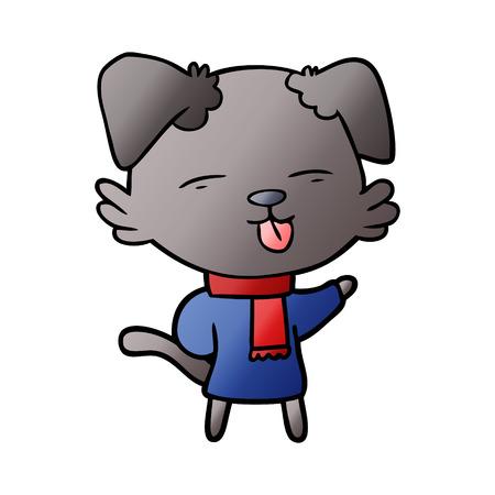 cartoon dog sticking out tongue Vector illustration.