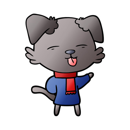 cartoon dog sticking out tongue Vector illustration.