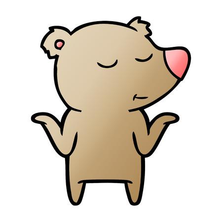 Ours de dessin animé heureux, haussant les épaules Banque d'images - 95536303
