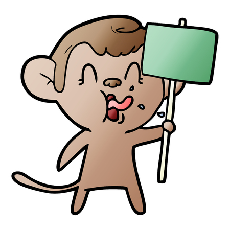 crazy cartoon monkey with sign