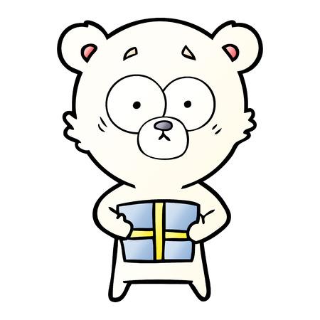 nervous polar bear cartoon with gift Vector illustration. Vectores