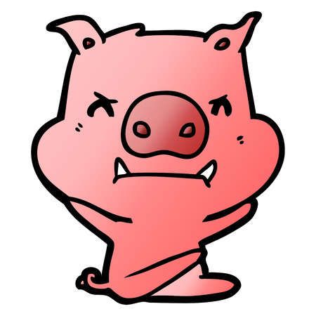 angry cartoon pig throwing tantrum Vector illustration.