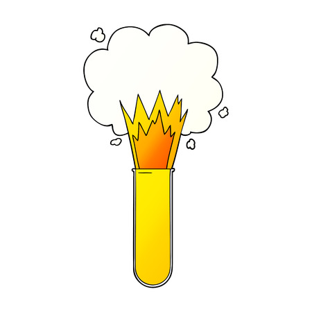 cartoon exploding chemicals in test tube  イラスト・ベクター素材