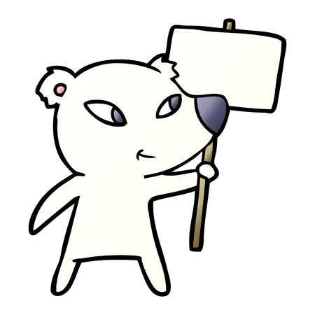 cute cartoon polar bear with protest sign Stock Vector - 95551909