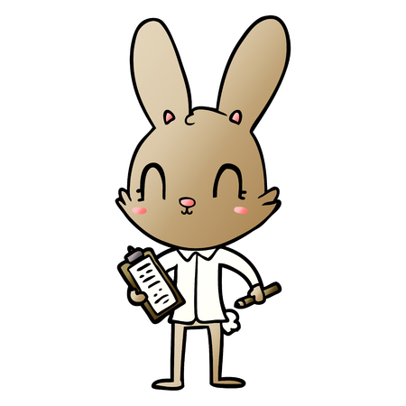 cute cartoon rabbit with clipboard Vector illustration. Foto de archivo - 95551913