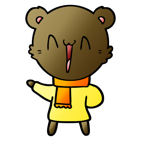 happy bear cartoon Vector illustration.