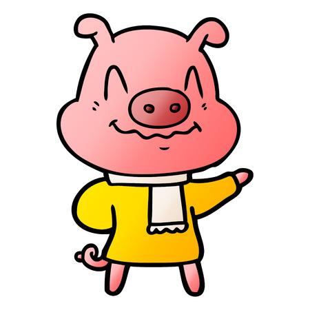 nervous cartoon pig wearing scarf Vector illustration.