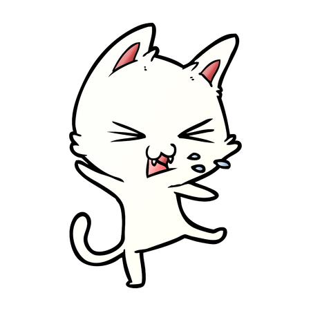 cartoon cat throwing a tantrum Vector illustration. Illustration