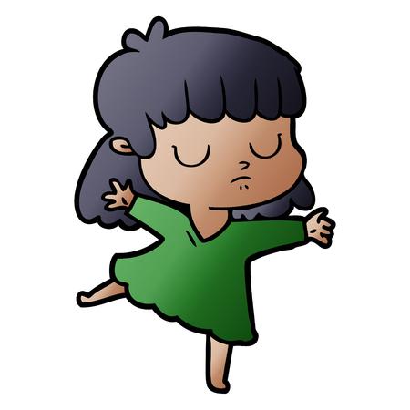cartoon indifferent woman Vector illustration. Ilustração