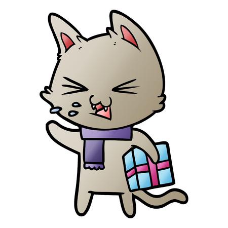 cartoon hissing cat with christmas present Illustration
