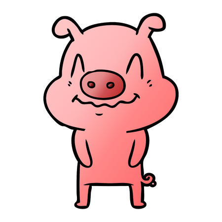nervous cartoon pig Vector illustration. Illustration