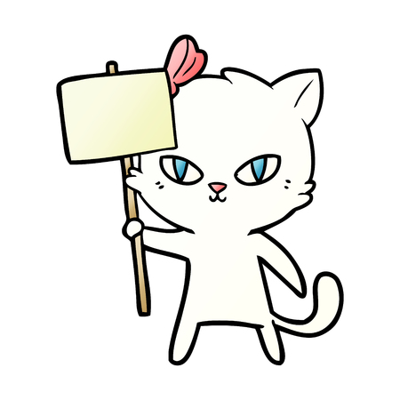 cute cartoon cat with protest sign Иллюстрация