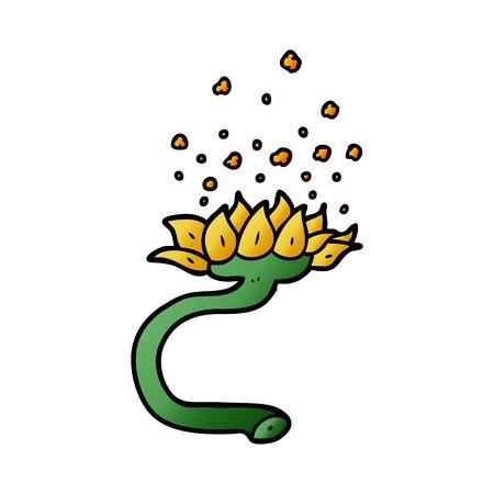 cartoon flower releasing pollen Vector illustration.