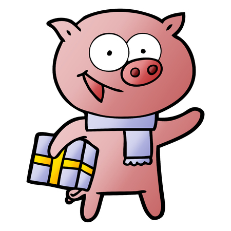 cheerful pig with christmas gift Vector illustration.