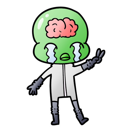 cartoon big brain alien crying and giving peace sign