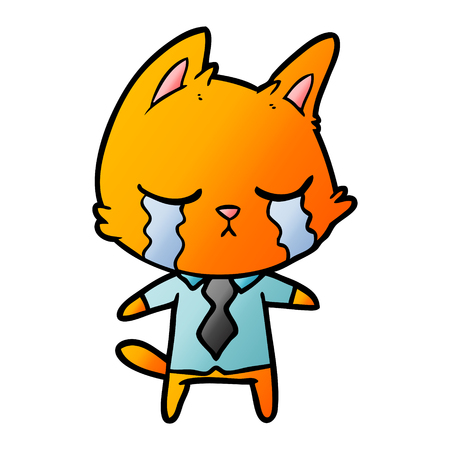 crying cartoon office worker cat Vector illustration.
