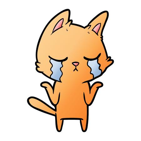 crying cartoon cat shrugging Vector illustration. Vettoriali