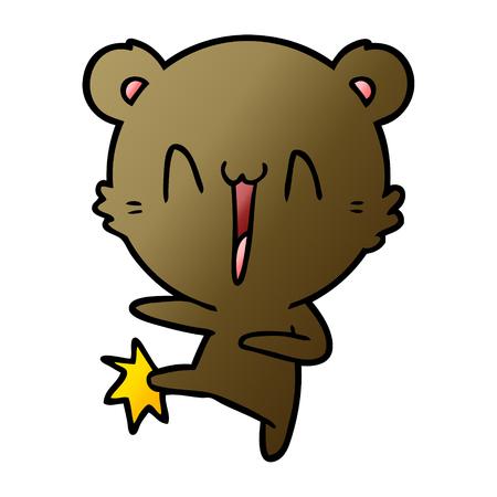 Hand drawn happy bear kicking cartoon