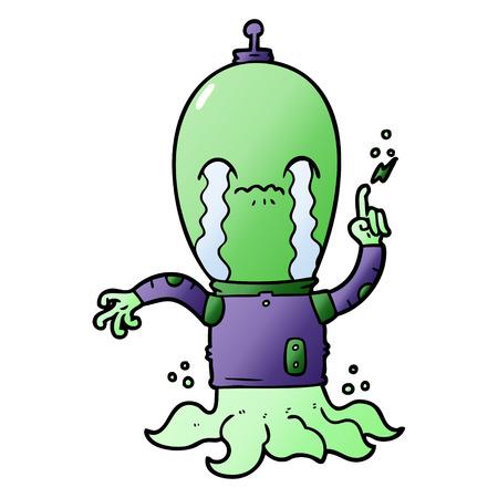 Hand drawn cartoon alien Illusztráció